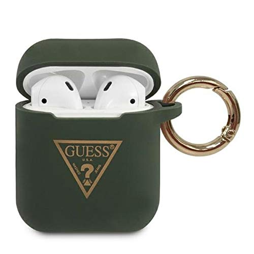 Guess Silicon Cover Ring Triangle Logo für Apple Airpods - Khaki