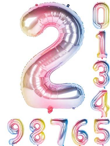 虹色 数字バルーン40インチ0-9誕生日パーティーデコレーションの風船の数字2
