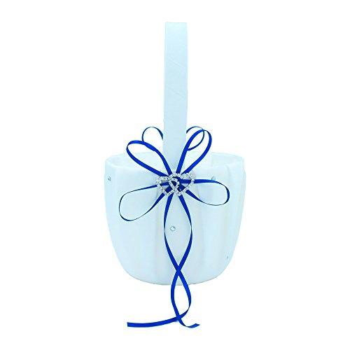 Abbie Home Royal Blue Wedding Flower Basket Ribbon Bowknot Double Heart Rhinestone Décor Party Favor (Royal Blue Basket)