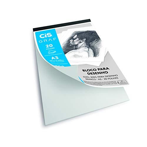 Bloco de Papel para Desenho A3 200G 20 folhas, CIS