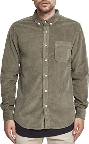 Urban Classics Herren Corduroy Shirt Freizeithemd, Olive, L