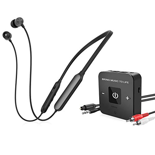 Friencity Wireless Headphones Earbuds for TV Watching with Bluetooth Audio Transmitter Adapter, Neckband TV Headset Hearing Set for Seniors, Digital Optical RCA, 3.5mm Aux, Plug n Play, No Audio Delay