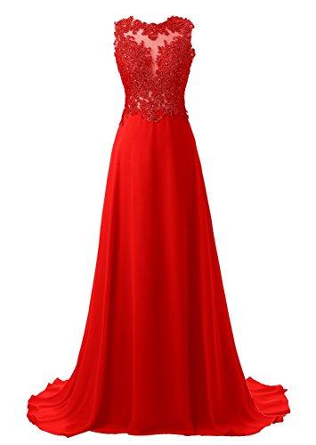 Callmelady Abendkleider Lang Spitze Elegant Ballkleider Damen Abiballkleid Cocktailkleid (Rot, EU36)