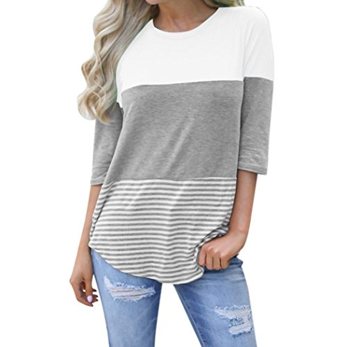 Price comparison product image 2018 New Women's T-Shirt,  Neartime Fashion Casual Loose Striped Patchwork Lace Three Quarter Sleeve Blouse Tops Shirts (AsianXL,  White)