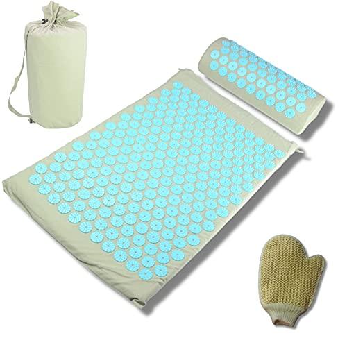 ZenaTerra - Alfombra de acupresión, almohada de algodón, alivio del dolor de espalda, alivio de tensión, reduce la ansiedad, estrés, para sensación de bienestar, color gris + guante de masaje de crin