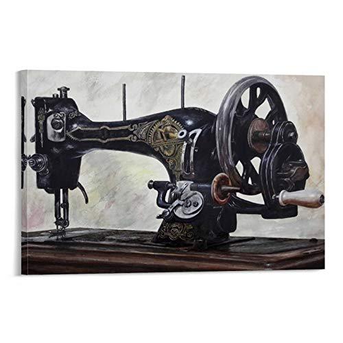WERTK Póster retro de la máquina de coser y arte de pared, impresión moderna para decoración de dormitorio familiar, 60 x 90 cm