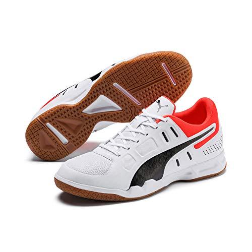 PUMA Auriz Herren Low Boot Sneaker Hallenschuhe Weiss-Schwarz-Rot, Größenauswahl:44.5