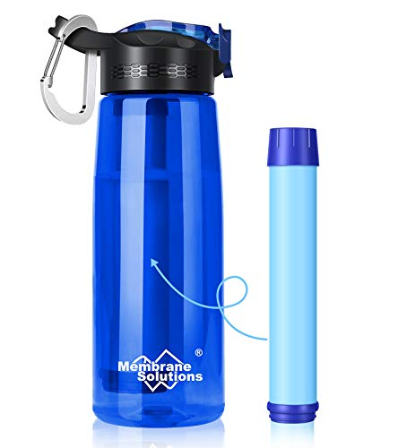 Membrane Solutions Filtered Water Bottle, 0.1 Micron 4 Stage Ultra-Water Filter Bottle, Portable Outdoor Water Purifier Survival Gear for Camping Hiking Travel Emergency, BPA-Free, Leak-Proof, 22 oz