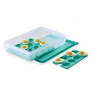 Tupperware Snack-Stor Large with Egg Tray Inserts in Mint