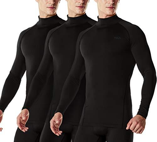 TSLA Camiseta de compresión de manga larga para hombre Cool Dry Fit Athletic Workout, Active Sports Base Layer, Hombre, Mut22 - Pack de 3 unidades, color negro y negro, large