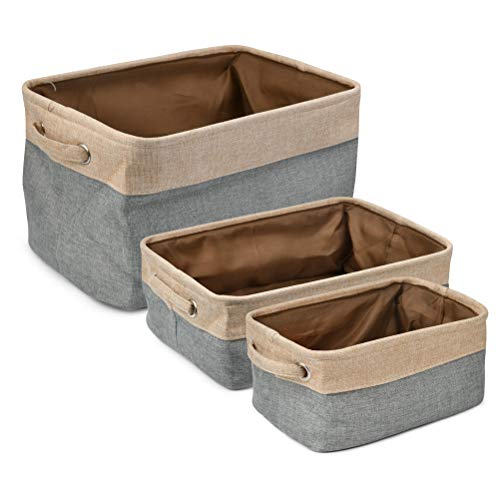 POKIENE Faltbarer Aufbewahrungsbox Baby Aufbewahrungskorb, Leinen & Baumwollgewebe Aufbewahrungsbehälter mit Griffen, Ablagekörbe Organizer Sets - 3 Stück & grau