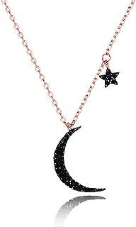f717166ebb86b WikiMiu Collier Femme Ras de Cou avec Pendentif Lune Étoile, Bijoux  Fantaisie Cadeau pour Femme