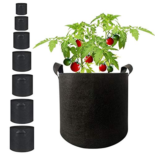 MHGLOVES Grow Bags, 8 Pcs Grow Bags Aeration Fabric Plant Pots Felt Fabric Bags W/Handles Vegetable Growing Bags Planter Bags for Home Greenhouse (3/5/7/10/15/20/25/30 Gallon)