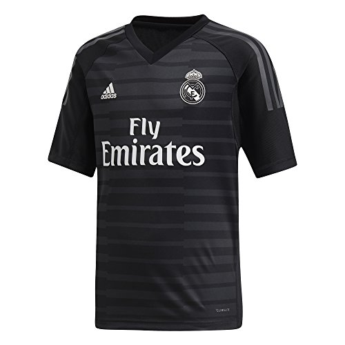 adidas Kinder 18/19 Real Madrid Home Shortsleeve Torwarttrikot, Black/Carbon, 164