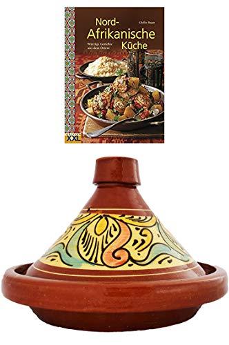 Marokkanische Tajine Topf zum Kochen + Kochbuch | Schmortopf glasiert Chaouen Ø 30cm, für 4-5 Personen | inklusive Rezepte Buch Nord Afrikanische Küche | ORIGINAL Tontopf handgetöpfert aus Marokko