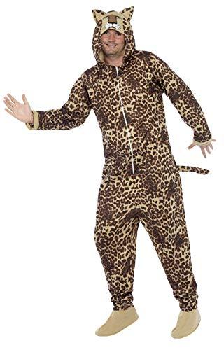 Smiffy's-50977L Miffy Traje Leopardo, Todo en Uno con Capucha, Color marrón, L-Tamaño 42