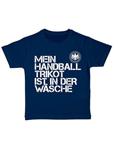 clothinx Kinder T-Shirt Bio EM 2020 Mein Handball Trikot ist in der Wäsche Navy/Weiß Größe 92