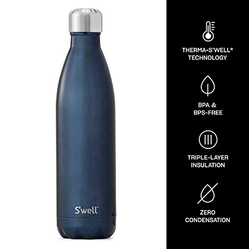 S'well Stainless Steel Water Bottle - 25 Fl Oz - Blue Suede - Triple-Layered Vacuum-Insulated Containers Keeps Drinks Cold for 48 Hours and Hot for 24 - BPA-Free - Perfect for the Go