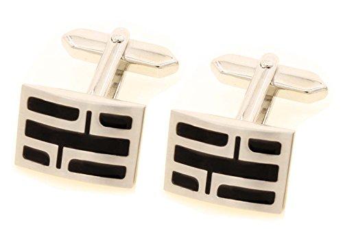 Unbekannt Design Manschettenknöpfe schwarz silbern matt + Geschenkbox Sale