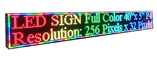 """40"""" x 5"""" 256x 32 Pixels P4 Full Color Indoor LED Sign RGB LED Display Programmable Scrolling Message Board for Advertising"""