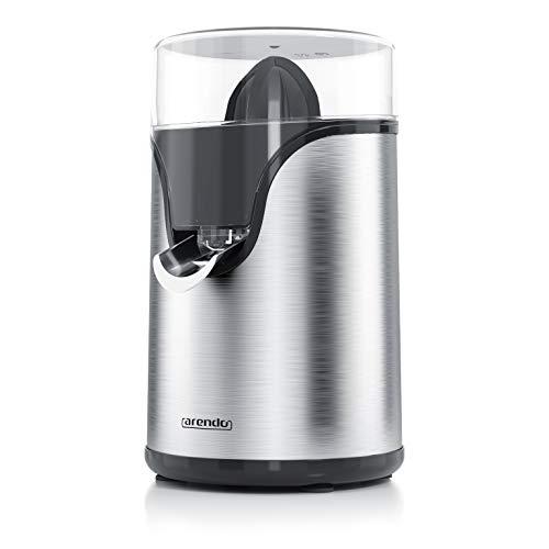 Arendo - Spremiagrumi elettrico in acciaio inox silenzioso - 100 W - 2 coni spremitori diversi inclusi - Beccuccio apri chiudi antigoccia - Spremi direttamente nel bicchiere - Senza plastiche BPA