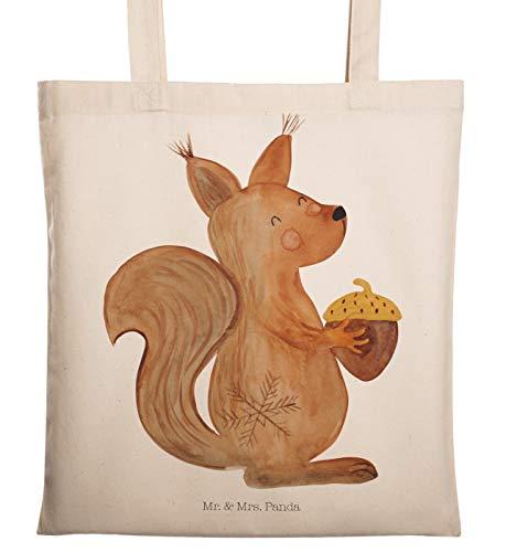 Mr. & Mrs. Panda Beutel, Baumwolltasche, Tragetasche Eichhörnchen Weihnachten - Farbe Transparent