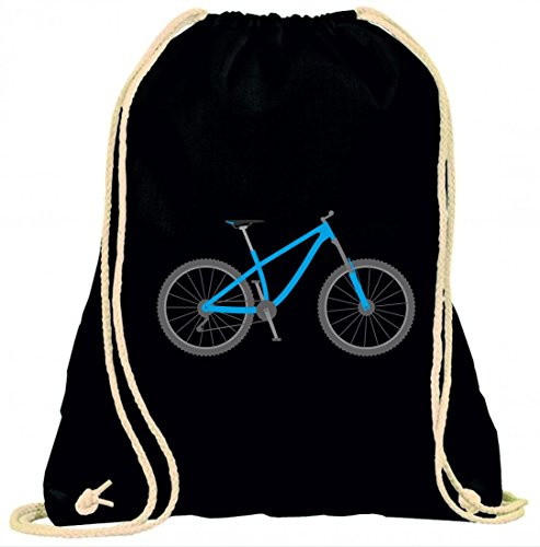 Druckerlebnis24 Turnbeutel Fahrrad- Rad- Bike- Mountainbike- Radsport- ZWEIRAD mit Kordel - 100% Baumwolle- Gymbag- Rucksack- Sportbeutel
