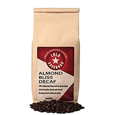 Lola Savannah Almond Bliss Whole Bean Coffee - Crunchy Almond, Toasted Coconut & Rich Chocolate Indulges Your Palate | Decaf | 2lb Bag