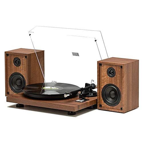 TBTUA Fonógrafo clásico vintage, Tocadiscos, de madera de la placa giratoria, fonógrafo Bluetooth con una función de altavoces estéreo RCA de línea de audio de la placa giratoria de los discos de vini