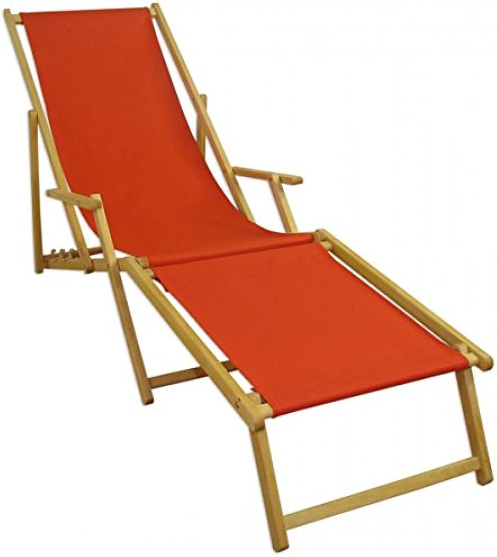 Erst-Holz Sonnenliege Terracotta Gartenliege Liegestuhl Strandliege Futeil klappbar Buche hell 10-309NF