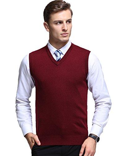 Kinlonsair Mens Casual Slim Fit Solid Lightweight V-Neck Sweater Vest,Red,Large (US)