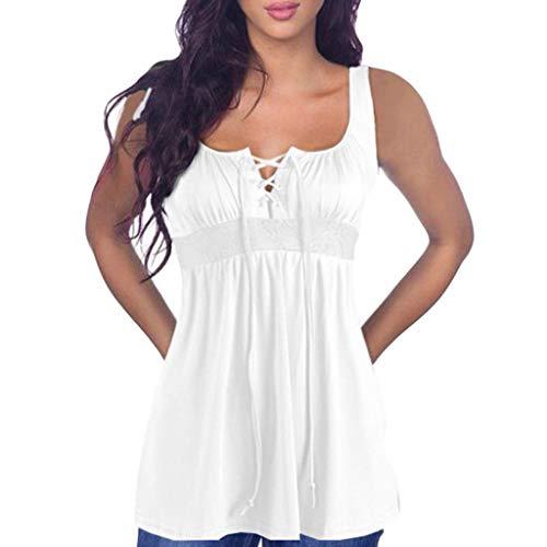 Camiseta Sin Mangas Mujer SHOBDW 2020 Nuevo Playa de Verano Deporte Camisetas Mujer Tirantes Baratas Chaleco con Cordones Camiseta Blusa Camisetas Sin Mangas para Mujer Tallas Grandes(Blanco,M)