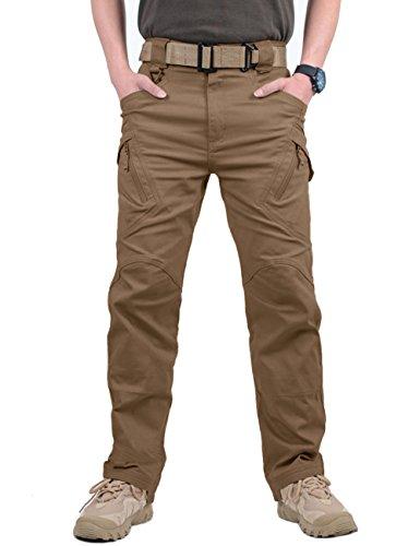 MAGCOMSEN Herren Draussen Dauerhaft Multi Taschen Entspannt-Fit Taktisch Cargohosen Arbeitshose, Braun, 34
