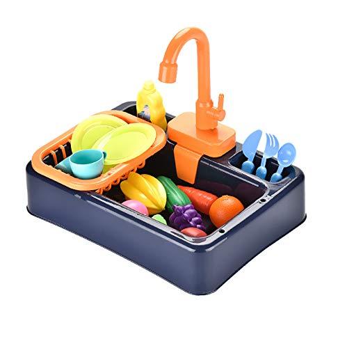 HYISHION Juego de Utensilios de Cocina y Comida de Juguete Fregadero Electrónico y Conjunto de Frutas, Verduras y Accesorios de Cocinita Infantil de Imitación,Dark Blue,24pcs