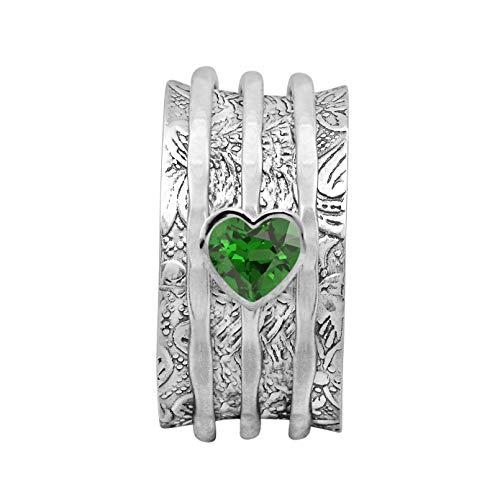 Bague Spinner !! Bande de méditation de votre choix, bague en forme de coeur en forme de coeur vert CZ Fidget, bague en argent sterling 925 (Double bande...