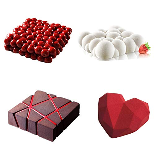 FDSJKD 4 unids/Set Molde de la Torta para Hornear Double Cherry Grid Block Nube Diamond Heart Heart Molde de Silicona 3D Molde de Chocolate