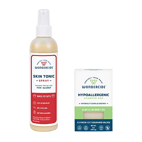 Wondercide - Dry Skin Relief Kit for Dogs and Cats for Itch Relief, Hot Spots with Natural Essential Oils - Skin Tonic Spray 8 oz, Hypoallergenic Aloe Vera Shampoo Bar 4 oz.