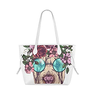 Ladies Handbag Hippie Sharpei Roses Wreath Round Sunglasses Womans Overnight Bag Womans Shoulder Bag Large Capacity Water Resistant With Durable Handle