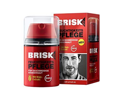 BRISK Feuchtigkeitspflege mit Malz-Extrakt für geschmeidige Männerhaut – Schnell einziehende, feuchtigkeitsspendende Gesichtscreme – 1 x 50 ml