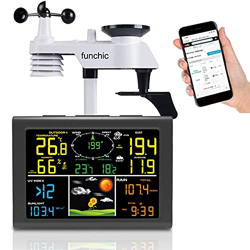 Professional WiFi Weather Station, Internet Wireless Weather Station with 7-in-1 Outdoor Sensor, Rain Gauge, Weather Forecast, Wind Gauge, Humidity, Alerts Underground, Weather Cloud