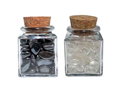 MKöpke® - Bergkristall und Hämatit - 2er-Set Trommelsteine im Glasfläschchen - Dekoglas gefüllt mit Edelsteinen