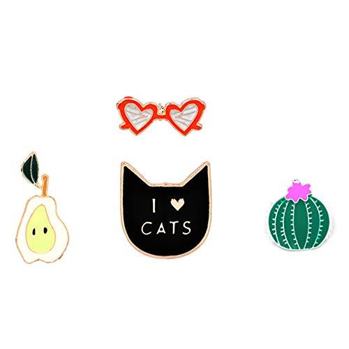 Hui Jin Broschen-Anstecknadel, Kaktus-Brille, Katze, Birnenmuster, für Kleidung, Rucksack, Pullover, Basteln