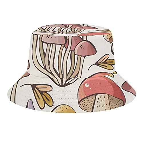 Hojas de semillas de arce champiñones sobre fondo blanco dibujo manos en un lindo estilo infantil unisex moda cubo sombrero verano pescador sombrero sol