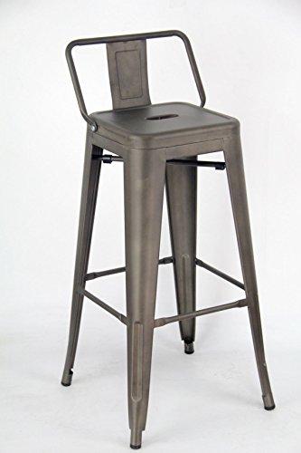 ARREDinITALY - Lot de 2 tabourets Hauts empilables en métal Style Industriel Tolix - Réplique en métal Canne de Fusil