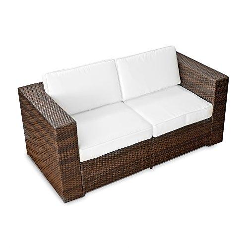 XINRO® (2er Polyrattan Lounge Sofa - Gartenmöbel Couch Bank Rattan - durch andere Polyrattan Lounge Gartenmöbel Elemente erweiterbar - In/Outdoor - handgeflochten - braun
