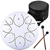 Steel Tongue Drum - 8 Notes 8 inches - Percussion Instrument for Kids or Adults-Handpan Drum with Bag, Music Book, Mallets, Finger Picks (White)