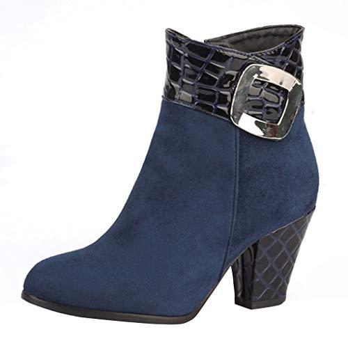 WUSIKY Geschenk für Frauen Stiefeletten Damen Bootsschuhe Boots Schlangendruck dicken Absatz Metall Stiefeletten Fashion kurzen high Heel Stiefel Schuhe (Blau, 38 EU)