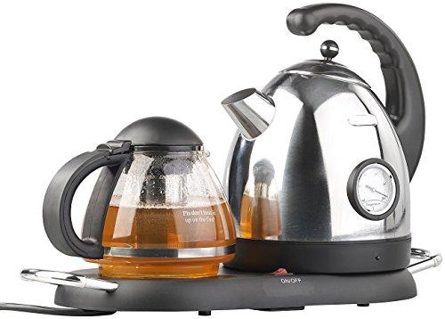 Rosenstein & Söhne Elektrische Teekanne: Edelstahl-Wasserkocher WSK-300.set mit Teekanne (Teestation mit Wasserkocher)