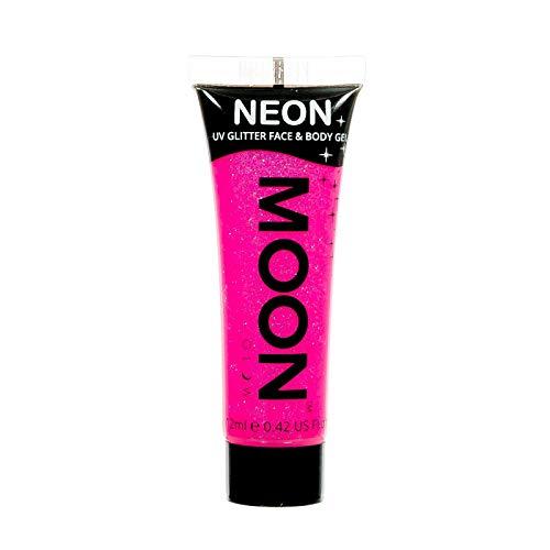 Moon Glow – Gel pailleté fluo UV visage & corps. 12 ml. Rose Fluo Intense. Peinture pailletée pour le visage
