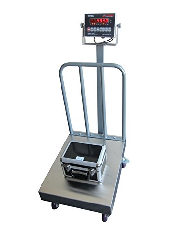 """500 LBS x 0.1 LBS Optima Scale OP-915BW NTEP IP 65 Mild Steel Bench Scale With Backrail and Wheels 18"""" x 24"""" Platform NEW !!!"""